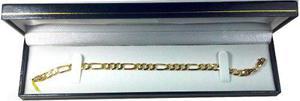 Esclava Pulso Figaro 3 X 1 Oro Macizo 10k Pesa 10grs Y 6mm