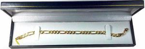 Esclava Pulso Figaro 3 X 1 Oro Macizo 14k Pesa 10grs. 6mm.