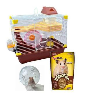 Jaula Para Hamster 35.5 X 24x33cm Oferta + Esfera + Alimento
