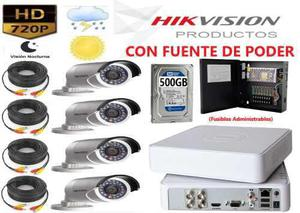 Kit 4 Cámaras Fuente De Poder Hd 720p Cctv Disco Duro 500gb