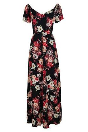Maxi 15305 Vestido Largo Print Flores Rinna Moda Mexicana Ma