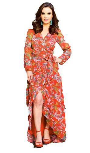 Maxi 719 Vestido Largo Print Flores Cruzado Abierto Moda Ma