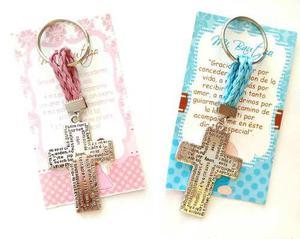Paq 40 Llaveros Recuerdo Bautizo Comunión Cruz Padre
