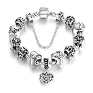 Pulsera Charms Plata Fina 925 Corazón Con Cristales -65%