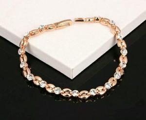 Pulsera Laminada Oro 18 Kt Con Cristales De Zirconia Mujer