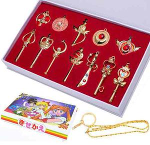 Sailor Moon Set 12 Dijes Collar Llavero De Broches Cosplay