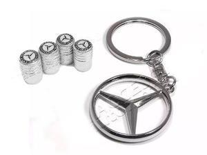 Set Llavero 3d Y Tapas Válvula Mercedes Benz, A, B, C, Cla,