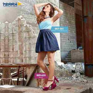 Vestido Azul/mezclilla 007261 Mundo Terra Outlet/saldos Mchn