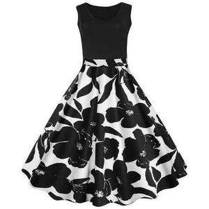 Vestido Con Diseño Floral Vintage Talla Grande
