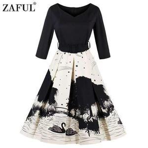 Zaful Mujeres 50s Otoño Vintage Vestido De Impresión