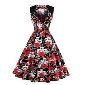 Zaful Vintage Vestido De La Rodilla-longitud De La Línea De
