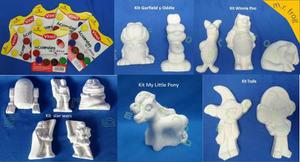 25 Figuras De Yeso Y 6 Acuarelas Por $160