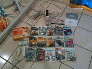 Consola Wii Con Set De Controles Negros Y 17 Juegos