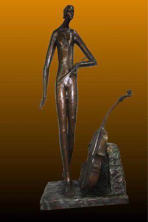 Escultura De Bronce Solo De Cello Original Certificada