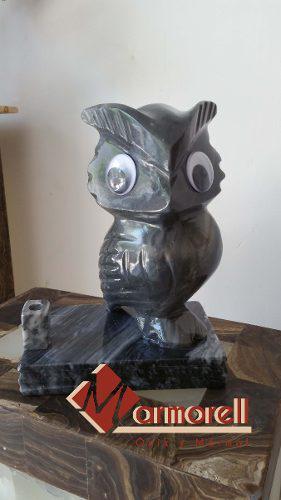 Escultura De De Búho En Marmol Gris Y Bellagio 20 Cm