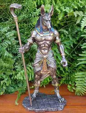 Escultura Del Dios Perro Anubis Acabado En Bronce De 28cm