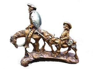 Escultura Figura Quijote Con Sancho Apariencia Bronce 948