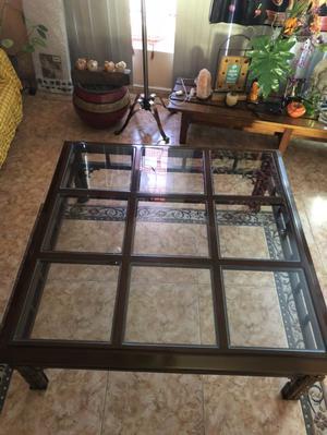 Mesa de centro Madera y vidrios