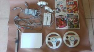 Nintendo Wii Blanco 2 Controles, 4 Juegos Y Accesorios