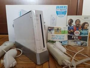 Nintendo Wii C/ 2 Controles Y 2 Nunchuk En Caja Original