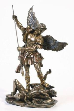 San Miguel Arcangel De 27cm Acabado En Bronce
