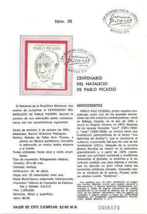 1981 Pablo Picasso Hoja Filatelica, Sobre Primer Día, Sello