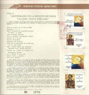 1988 Hoja Primer Día D Emisión Filatelica Cesar Vallejo