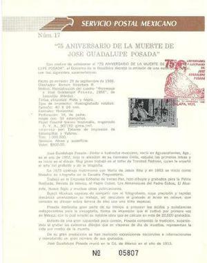 1988 Hoja Primer Día D Filatelia José Guadalupe Posada