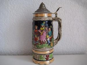 Tarro Antiguo Cervecero de Porcelana Musical 26 x 10 cms