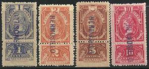 Timbres Fiscales Con Talón 1904 Nuevos 1, 2, 5 Y 10
