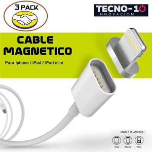 3 Pack Cable Cargador Magnetico Lightning Iphone Apple Ipad