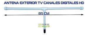 Antena Tv Tdt Exterior Pvc 75 Ohm 85cm Alta Ganancia