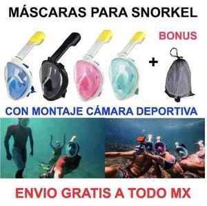 Mascara Snorkel Con Montaje Para Camaras Deportivas Y Bonus