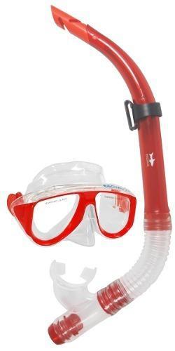 Mascara Y Snorkel Color Rojo - Escualo Modelo Coral
