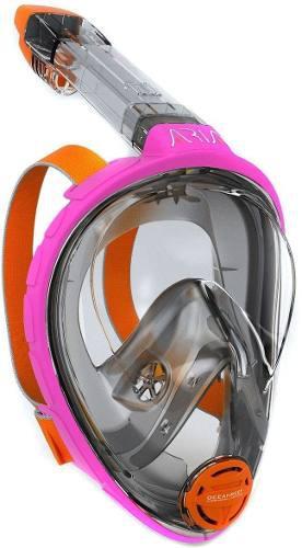 Mascara Y Snorkel Modelo Aria Ocean Reef Rosa Talla S/ M