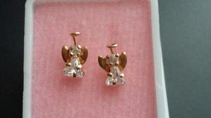 Arete Broquel Chapa De Oro Angel De La Guarda Zirconia