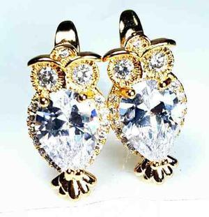 Aretes De Buho Oro 18k Y Zirconia Tipo Diamante Envio Gratis