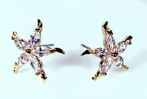 Aretes De Estrella En Oro 24k Zirconia Diamante Top Quality