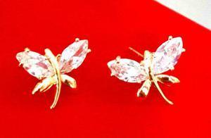 Aretes De Libélula En Oro Laminado Y Cristal Swarovski