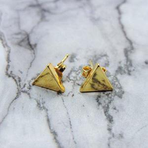 Aretes De Triangulo Chapa De Oro 22k