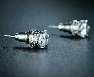 Aretes De Zirconia Calidad Diamante + Tarjeta Personalizada.