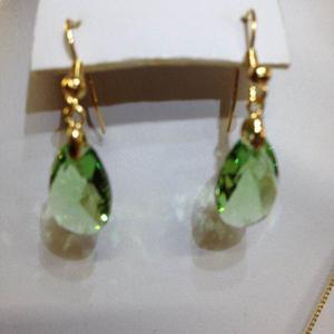 Aretes Gota Cristal Swarovsky Verde C/ Chapa De Oro 22k