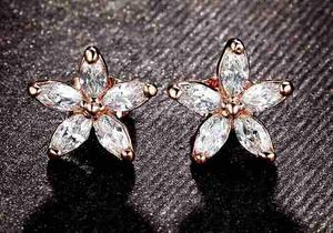 Aretes Oro Lam. Con Cristal Austríaco De Flor Con Envio