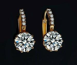 Aretes Oro Zirconia Calidad Diamante + Tarjeta Personalizada