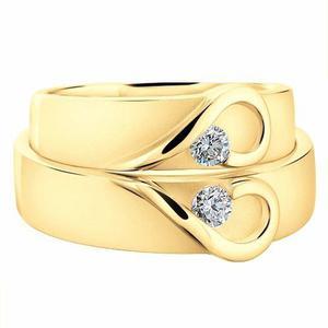 Argollas De Matrimonio De Corazon 1pz Fit Anillo Boda Oro10k