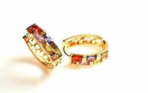 Arracadas De Oro Cristales Swarovski Colores Envio Gratis.
