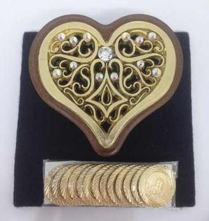 Arras Chapa Oro Caoba Vintage Con Cristal Swarovski