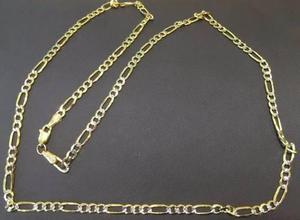 Cadena Figaro 3 X 1 Diamantada Oro Macizo 14k 60cm 25grs 5mm