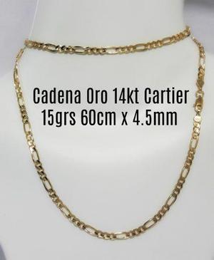 Cadena Tipo Cartier De Oro Macizo 14k 60cm Pesa 15gr 4.5mm