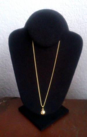 Cadena y Media Perla Sintetica Chapa Oro 18 Kt 44 cm Nuevas